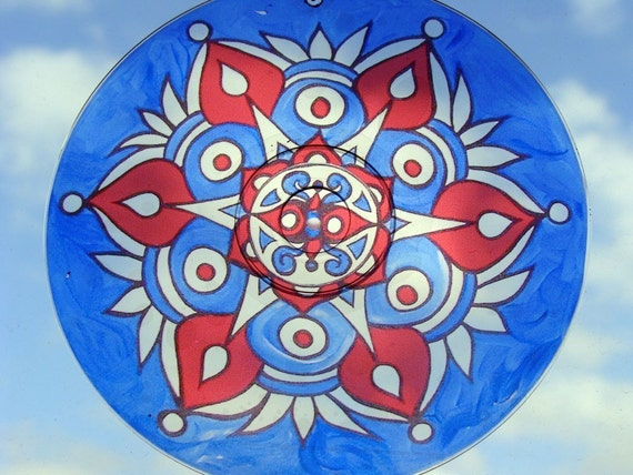 Americana Mandala Suncatcher - Original Psychedelic Art - Geometric Meditation Mandala - Bohemian Home Decor in Red White and Blue