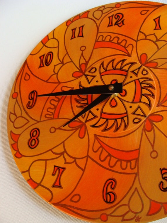 Wicked Orange Wall Clock - Geometric Mandala Painting on Recycled Vinyl Record