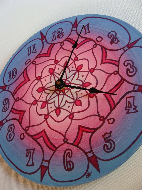 Tahiti Clock - Geometric Mandala in Pink and Blue Made From Recycled Vinyl Record