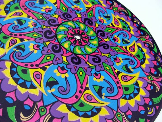 RESERVED FOR PATRICK Paisley  -  Original Mandala Painting on Recycled Vinyl Record
