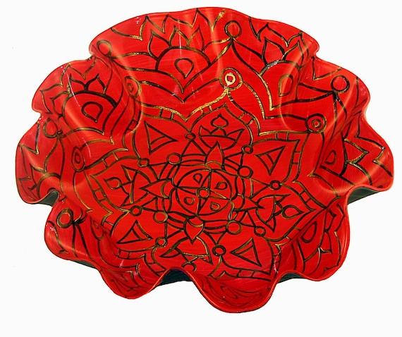 Ruby Red - Mandala Record Bowl