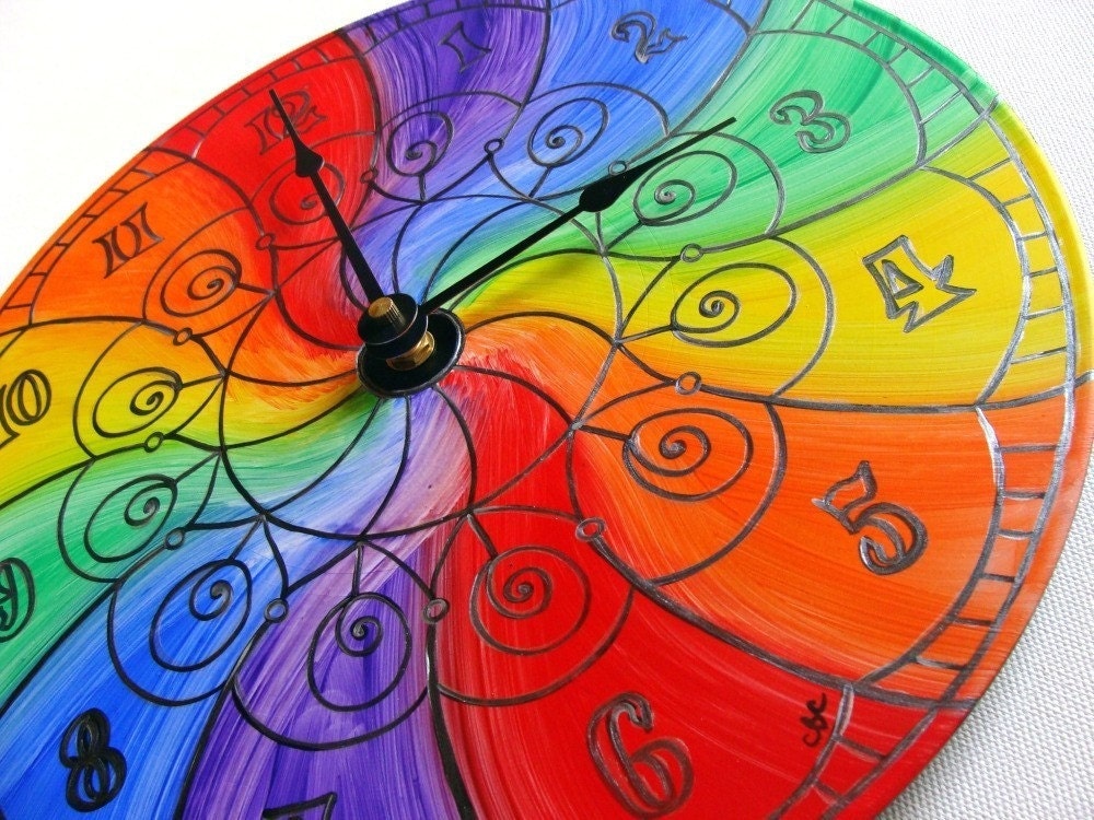 Color Wheel Mandala Record Clock Trippy Psychedelic By EyePopArt