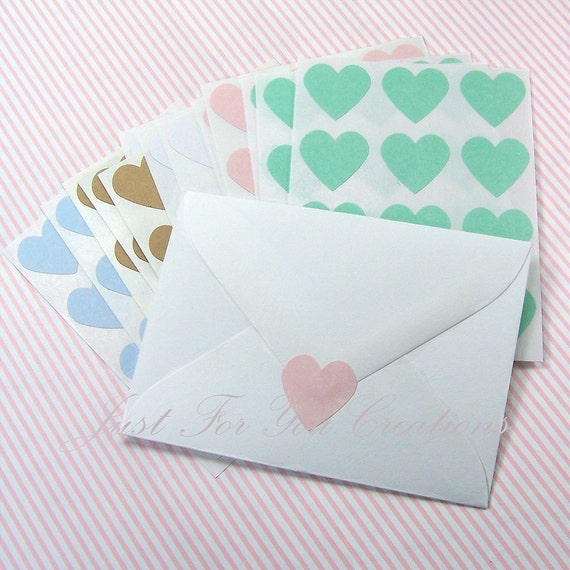 """180 Heart Stickers - Assortment - Envelope Seals - Labels - 0.75"""" x 0.75"""" - FREE SHIPPING (USA)"""