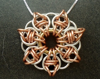 Copper and Sterling Silver Celtic Star Necklace on Sterling Silver Chain