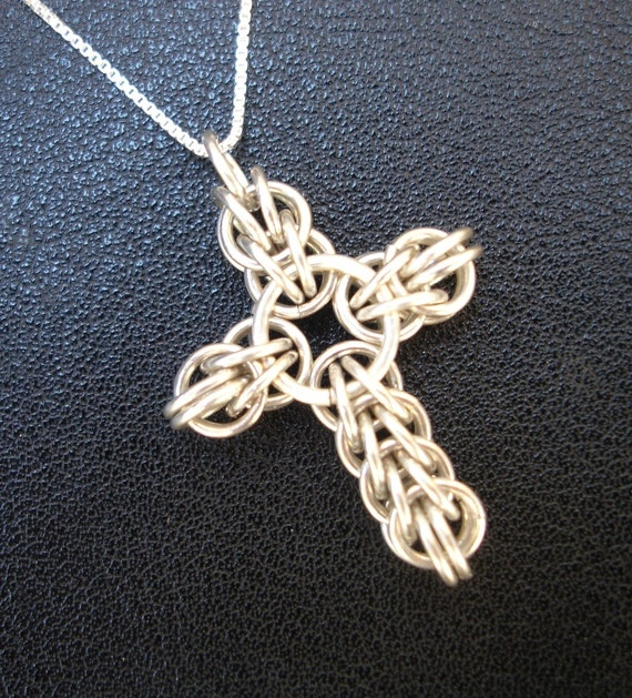 Chainmaille Cross Necklace in Sterling Silver