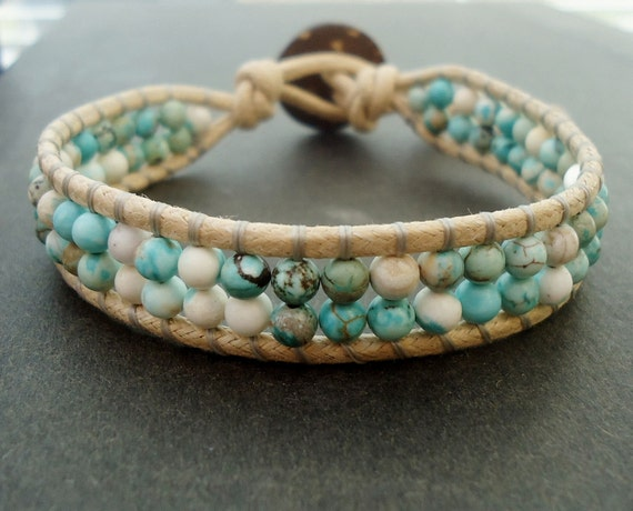 Wrapped Cotton Cord Bracelet - Blue Magnesite Stone and Earthy Tan Cotton Cord and Button Clasp