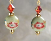 Pale Green Porcelain Drops with  Indian Red Swarovski Crystals