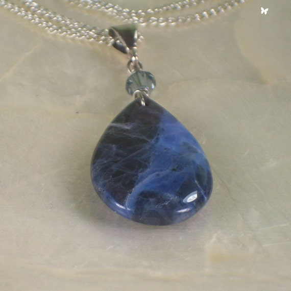 Sodalite Pendant with Sterling Silver Chain