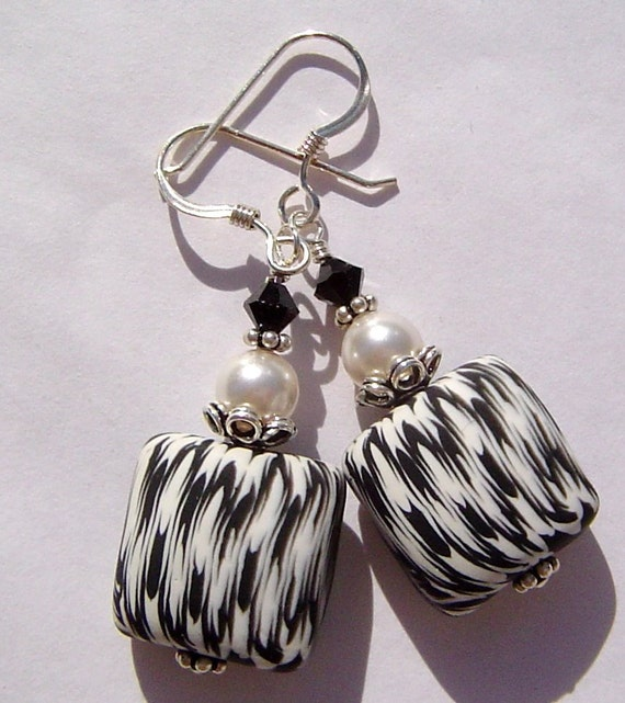 Handmade Classic Black White Polymer Clay Sterling Silver Earrings