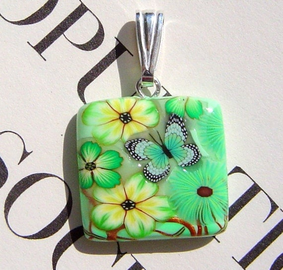 Handmade Pendant Green Butterfly Floral Polymer Clay Mini Pendant