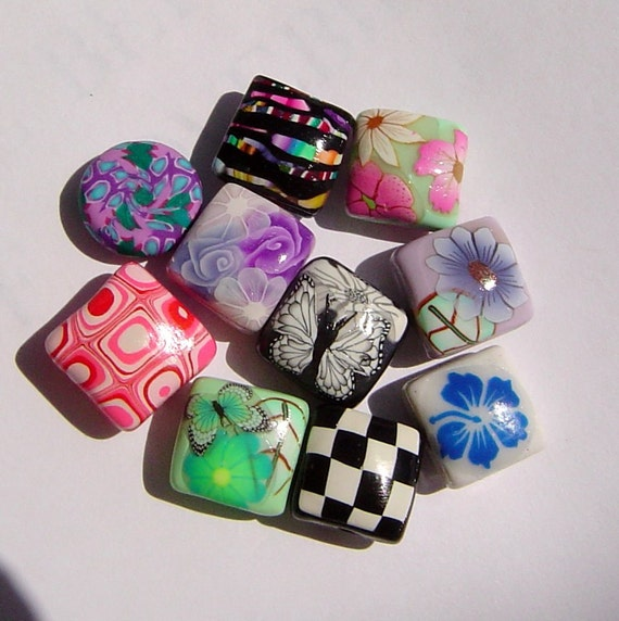 Clearance Sale Half Price Orphans Misfits and Experiments Polymer Clay Bead Set - 10 beads