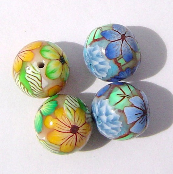 Polymer Clay Beads Earring Pairs with 4 Round  Beads