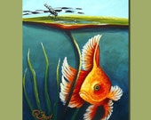 RFORD Dragonfly Goldfish Water Lily Original Painting Art