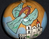 """Hand Painted Gourd Christmas Ornament by Sandy Short """"Turquoise Angel"""""""