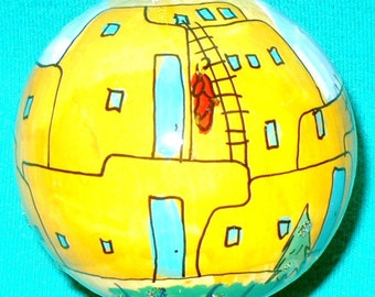 Hand Painted Gourd Christmas Ornament by Sandy Short Taos Pueblo, NM