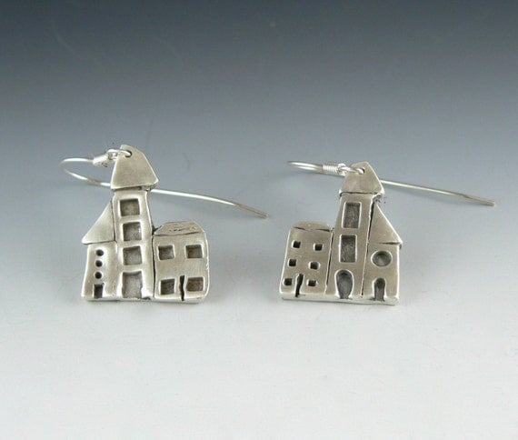 The street where I live.... silver earrings