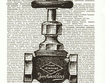 Vintage ad art Shut off Valve dictionary book page collage art print Buy 3 get 1 Free