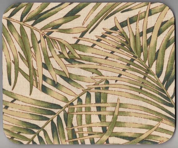 Mousepad Victorian Conservatory 7.75x9.25 fabric palms ferns green on cream mouse pad