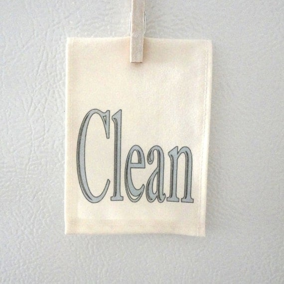 Mini dish towel Dishwasher Clean Dirty Magnet sign Gray Blue