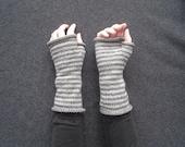 Anna's (Grey Stripey Wool) Wrist Warmers