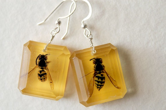 Yellow Jacket Bee Earrings