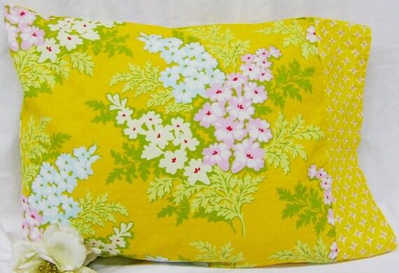 Nicey Jane Mustard Yellow Floral and Geometric Print 16 x 12 Travel Toddler  Pillowcase