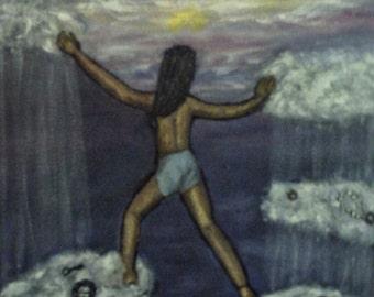 """Climbing Dark Clouds, Original Oil Painting,Fine Art 8x10"""", Surreal Art, figure art"""