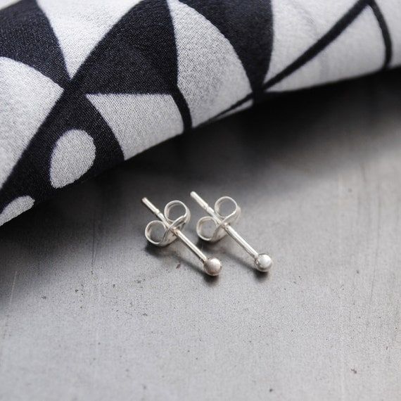 2mm Spheres - ball stud earrings in sterling silver