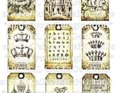 original digital collage sheet download hang tags royal crowns birds nest vintage alice in wonderland baby dress journals paper supplies