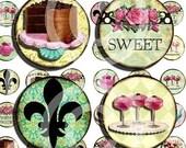 Digital Collage Sheet -  1 inch circles - Printable images - Chocolate Cake Cupcake Paris Fleur de Lis Roses Tea Pot INSTANT download