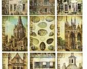 digital collage sheet vintage images printable download eNCHaNTeD dwellings bird eggs castles altered art supplies