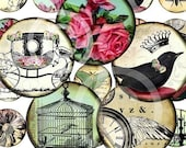 oRiGiNaL 1.5 inch Circles Vintage Images Owl Butterfly Nest DIGITAL art collage SHEET download paper supplies
