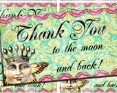 CRoWNeD MooN with WiNGs - DIGITAL COLLAGE SHEET - Printable Download - THaNK YoU To tHe MooN aNd BaCK cards