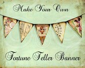 WHiMSiCaL FoRTuNe TeLLeR GaRLaND PaPeR BaNNeR make your own printable designs digital collage sheet craft supplies