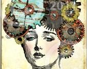 GeaR HeaD STeaMPuNK oRiGiNaL ViNTaGe watch parts gears You Print Digital Collage Sheet download altered art home decor supplies
