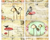 Vintage Mushrooms Digital Collage Sheet INSTANT download art print vintage mushroom print gift tags cards