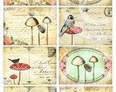 Vintage Mushrooms Digital Collage Sheet INSTANT download art print vintage mushroom print gift tags cards