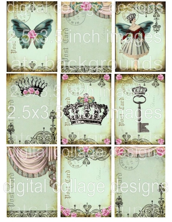 NeW DaiNTy PaSTeLs RoYaL CRoWNs BaLLeRiNa BuTTeRFLy original digital art collage sheet shabby pink roses bows antique paper postcard atc backgrounds altered hang tags handmade greeting card making supplies hang tags books journals scrapbooking s23