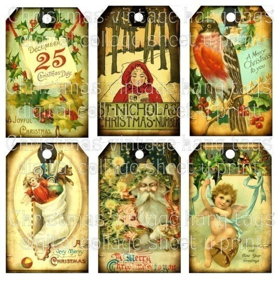 Aged Christmas Holiday Vintage Antique images Santa Claus Angel Birds BeLL Stocking Teddy Bear original digital art collage sheet Hang Gift Tags altered atc aceo paper bag album scrapbooking supplies 02