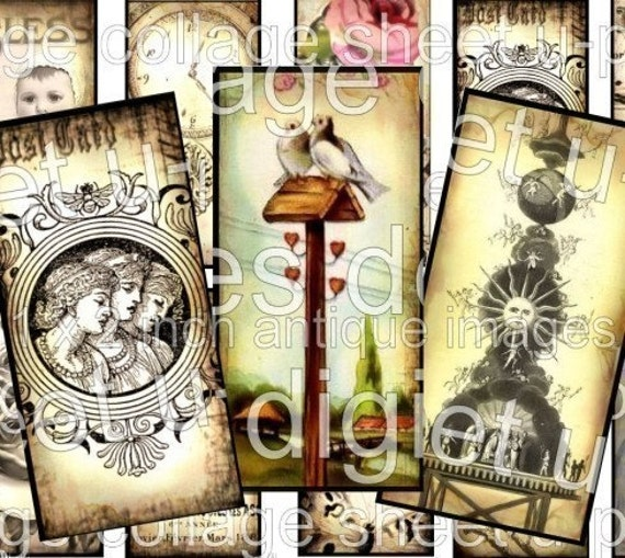 CeLeSTiaL SuN DIGITAL COLLAGE SHEET MooN Clock Lillies Sheet Music Hot Air Balloon 1 x 2 inch images domino microscope glass slide soldered pendant images altered art Birds Mushrooms Nest vintage photo antique paper supplies 16