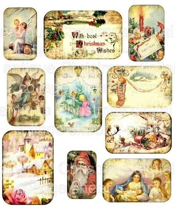 Holiday Vintage Antique images Santa Claus Reindeer Nativity Scene ...