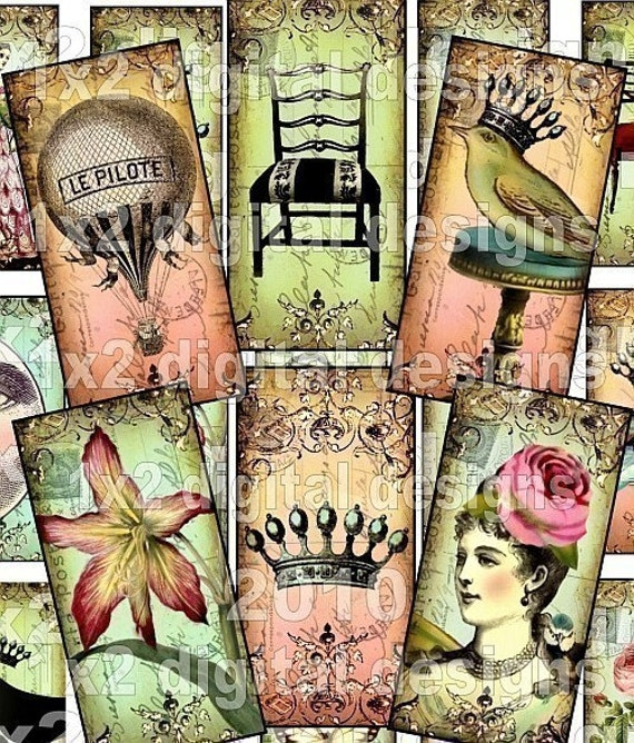 WHiMSiCaL 1 x 2 inch CRoWNeD BiRDs Antique Chairs MooN BLaCK CaT BuTTeRFLieS HoT AiR BaLLooN Vintage paper Domino Size images microscope glass slide soldered pendant altered art digital collage sheet scrapbooking supplies sh21