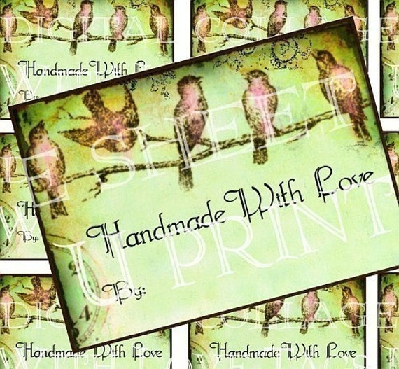 HaNDMaDe WiTH LoVe PiNK LiTTLe BiRDs CuSToMiZe YouR eTSy SHoP PRoDuCT LaBeLs U PRINT digital collage sheet original WHiMSiCaL designs stickers vintage paper aged stained paper hang tag supplies