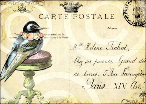 Whimsical Pretty Bird Pedestal Vintage Design Digital Collage