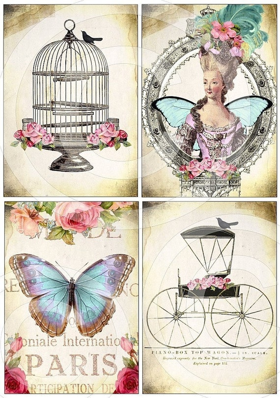 DIGITAL COLLAGE SHEET - download - vintage images - WHiMSiCaL Bird Cage Fairytale Carriage Paris Butterfly Queen Marie Antoinette