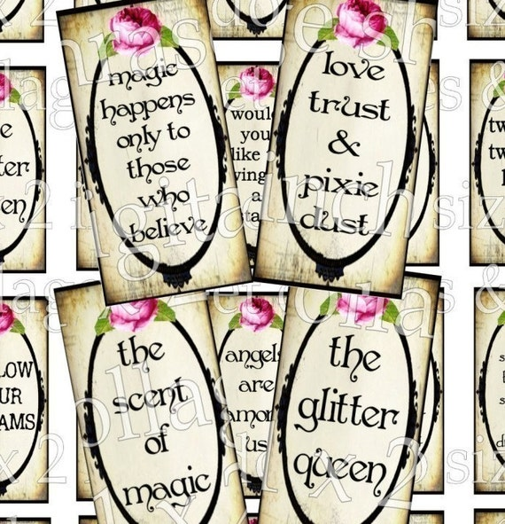 Digital Collage Sheet Download 1 x 2 inch words inspirational quotes Queen cupcake Paris images domino size images