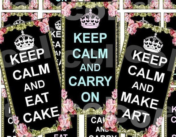 KeeP CaLM TWiSTeD 1 x 2 inch original digital collage sheet supplies domino clear tile rectangle glass pendants download