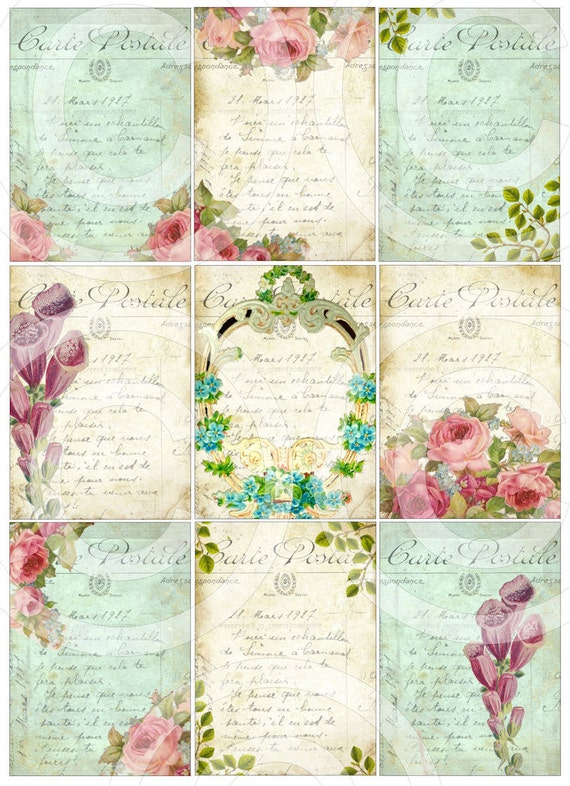FReNCH GaRDeN CoLLeCTioN atc backgrounds antique postcards digital collage sheet hang tags printable diy craft supplies scrapbooking sh163