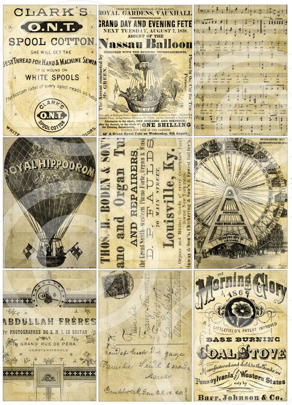TATTeReD STaiNeD old paper advertisements digital collage sheet postcard altered art hang tags scrapbooking