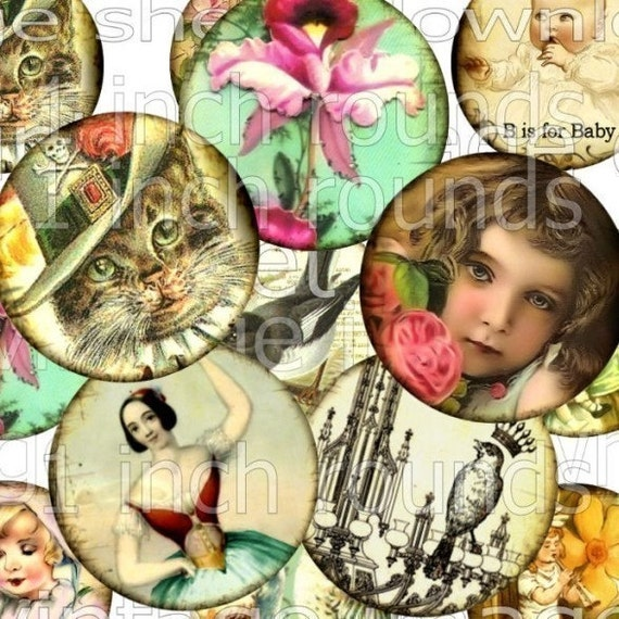 24 Rounds 1 inch Circles Vintage Image original digital art collage sheet download Ballerina Queen Crown BaBy Shabby Pink Roses Birds NeSt CaT Fairy altered bottlecaps paper ephemera supplies 2